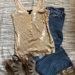 Gold Sequin Tank Top by White House Black Market